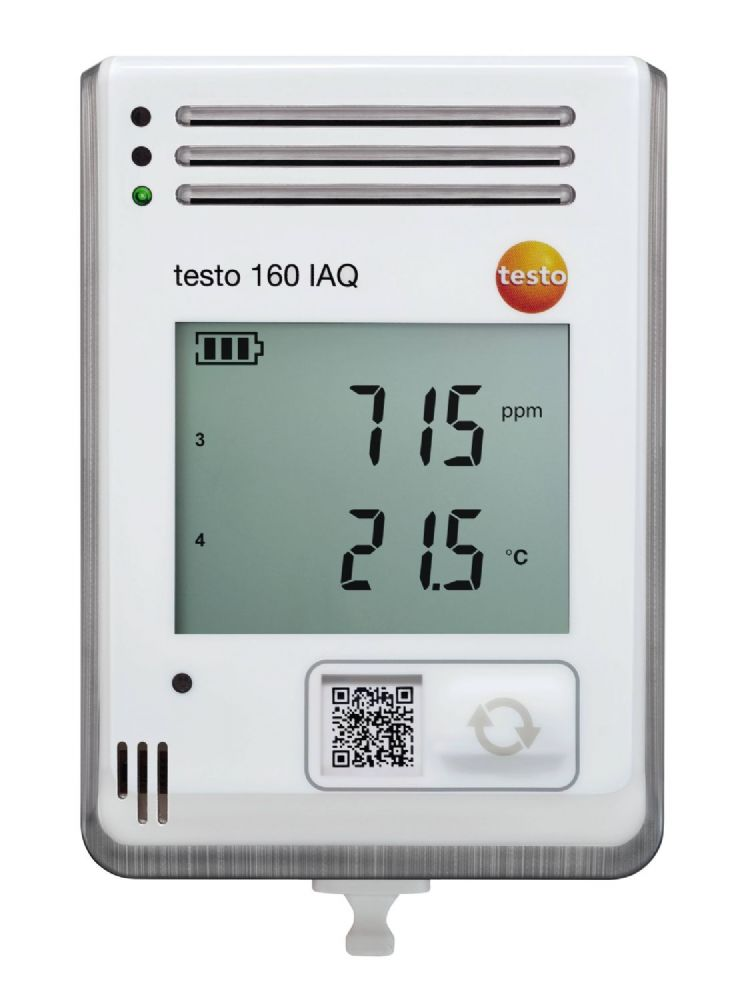 Testo 160 IAQ - WiFi data logger with display and integrated sensors for temperature, humidity, CO2